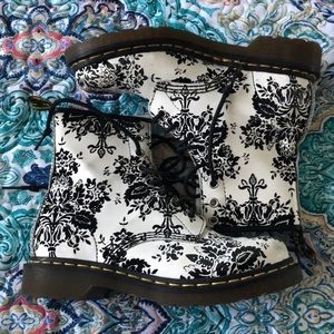 Black and while patterned Doc Martens